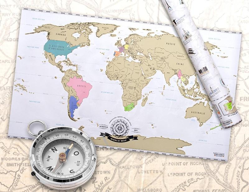 carte du monde à gratter - idée cadeau voyageur